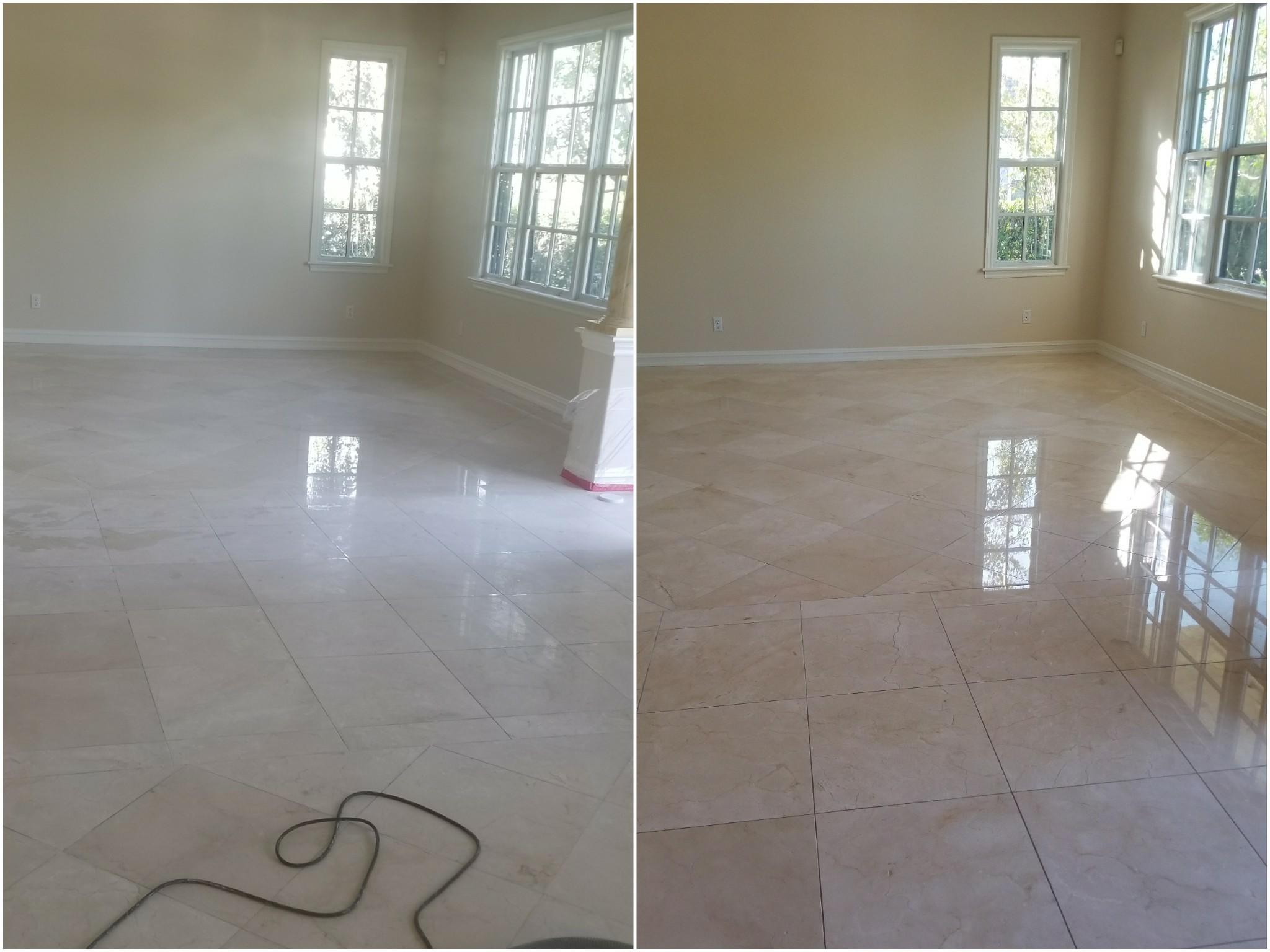 marble floor restoration (high gloss