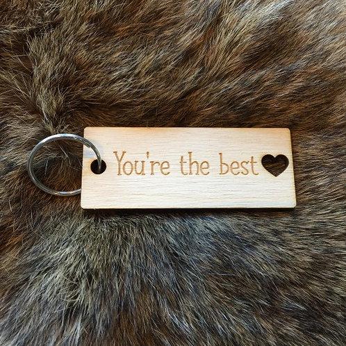 """Houten Sleutelhanger """"You're the best"""" saona aalst"""