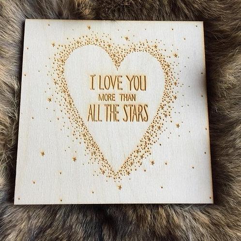 "Wenskaart ""I love you more than all the stars"" SAONA AALST"
