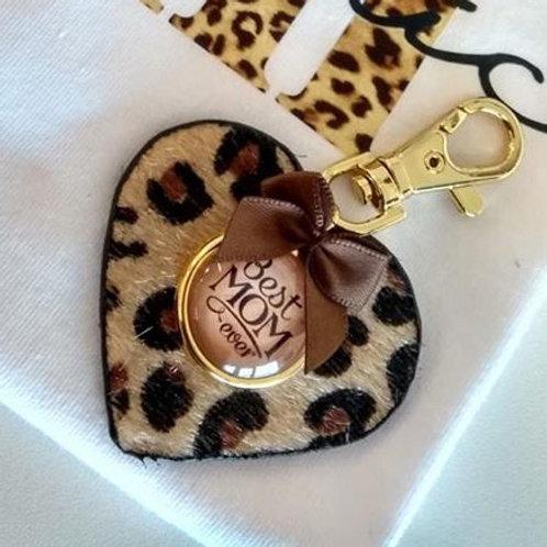 Sleutelhanger lederen hartje leopard met opschrift