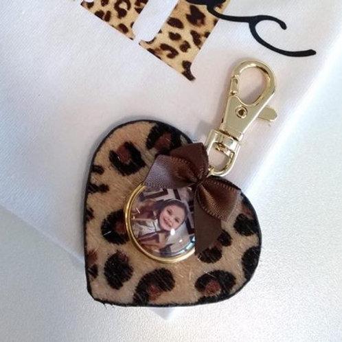 Sleutelhanger lederen hartje leopard met foto