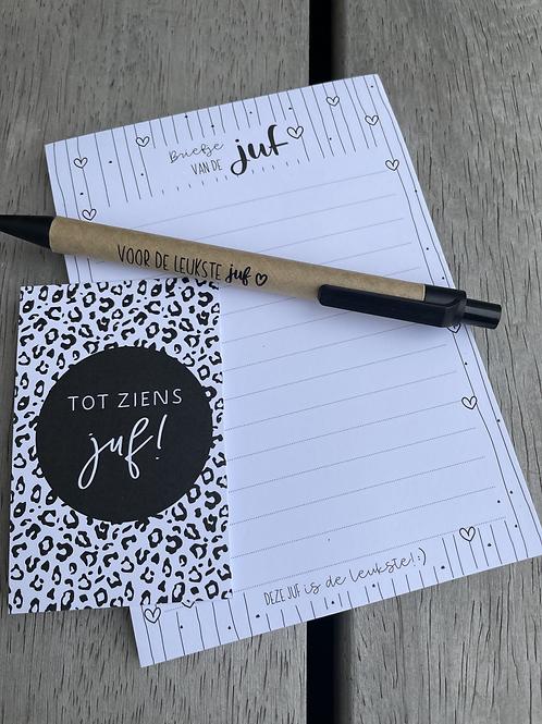 KADOOTJE VOOR DE JUF   NOTITIE A6 + pen