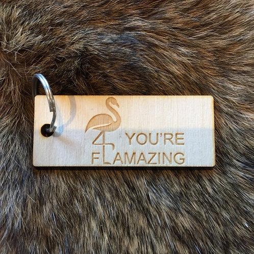 "Houten sleutelhanger ""you're flamazing"" saona aalst"