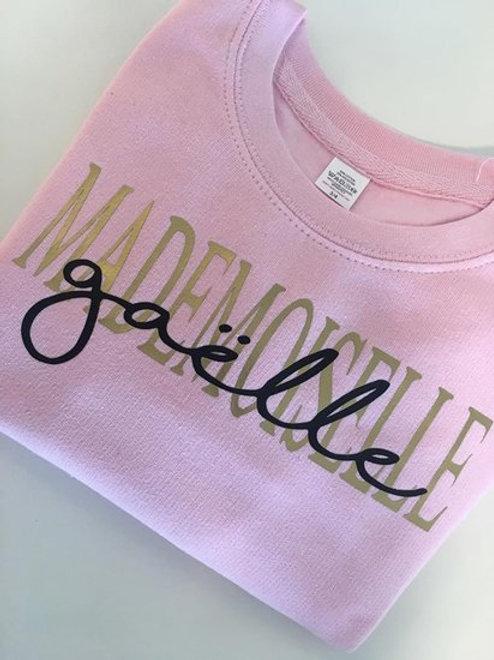 Kindersweater Mademoiselle met naam