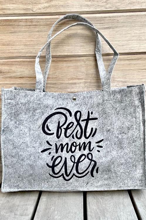 Vilten tas - Best mom ever in zwarte glitter