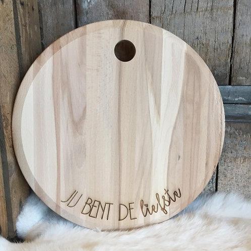 """Ronde houten plank """"Jij bent de liefste"""" saona aalst"""