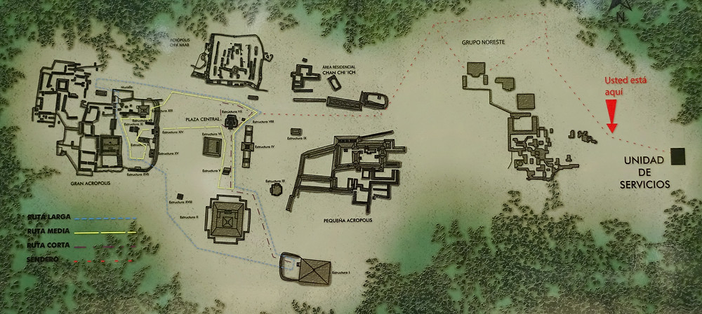 Diferentes rutas del Recinto Arqueológico de Calakmul