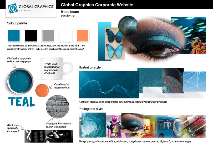 Global Graphics website mood board