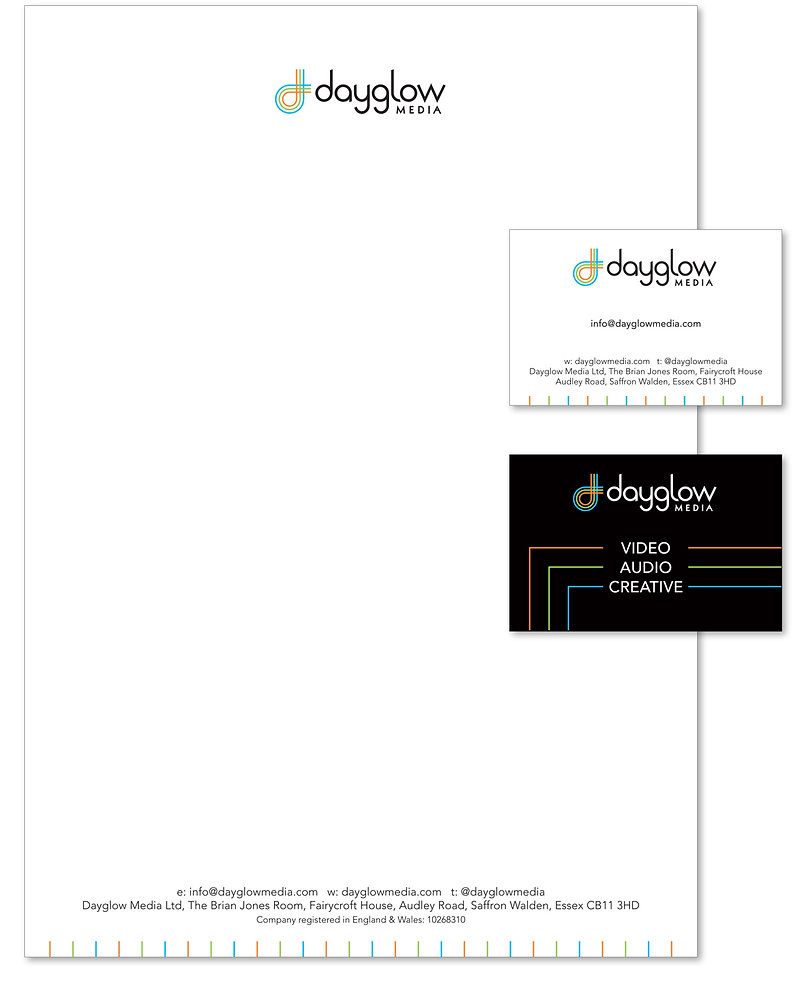 Dayglow Media letterhead & business card