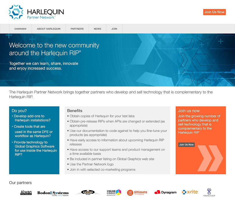 Harlequin Partner Network web design