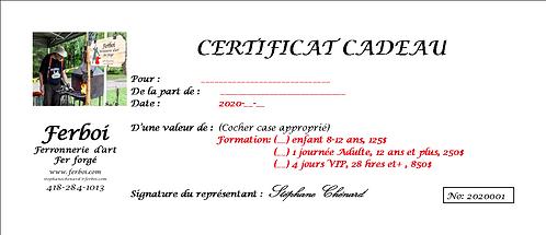 Certificat cadeau cour de forge