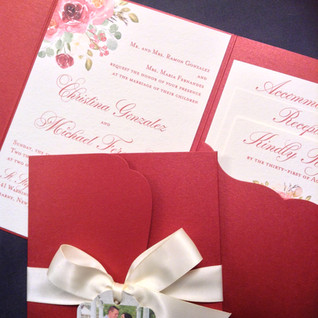Deep red pocket with watercolor floral