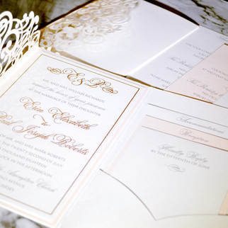 Blush and Ivory Laser Cut with Gold Foil