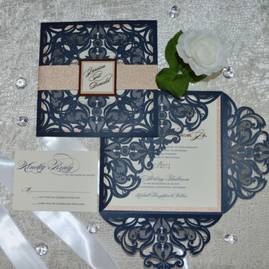Navy laser cut with rose gold foil