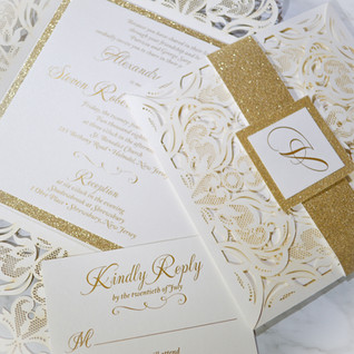 Ivory laser cut with gold glitter belly