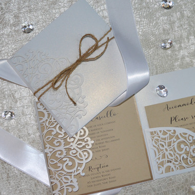 White laser cut with kraft_rustic