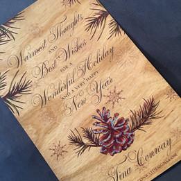 Real Wood Holiday Card