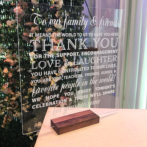 Acrylic Thank you Sign