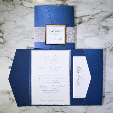 Navy Pocket with silver glitter