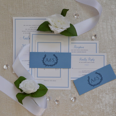Simple and elegant white and blue with b