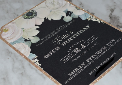 Watercolor Vintage Floral with Gold Glitter