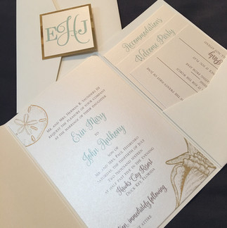 Ivory beach with gold foil accents