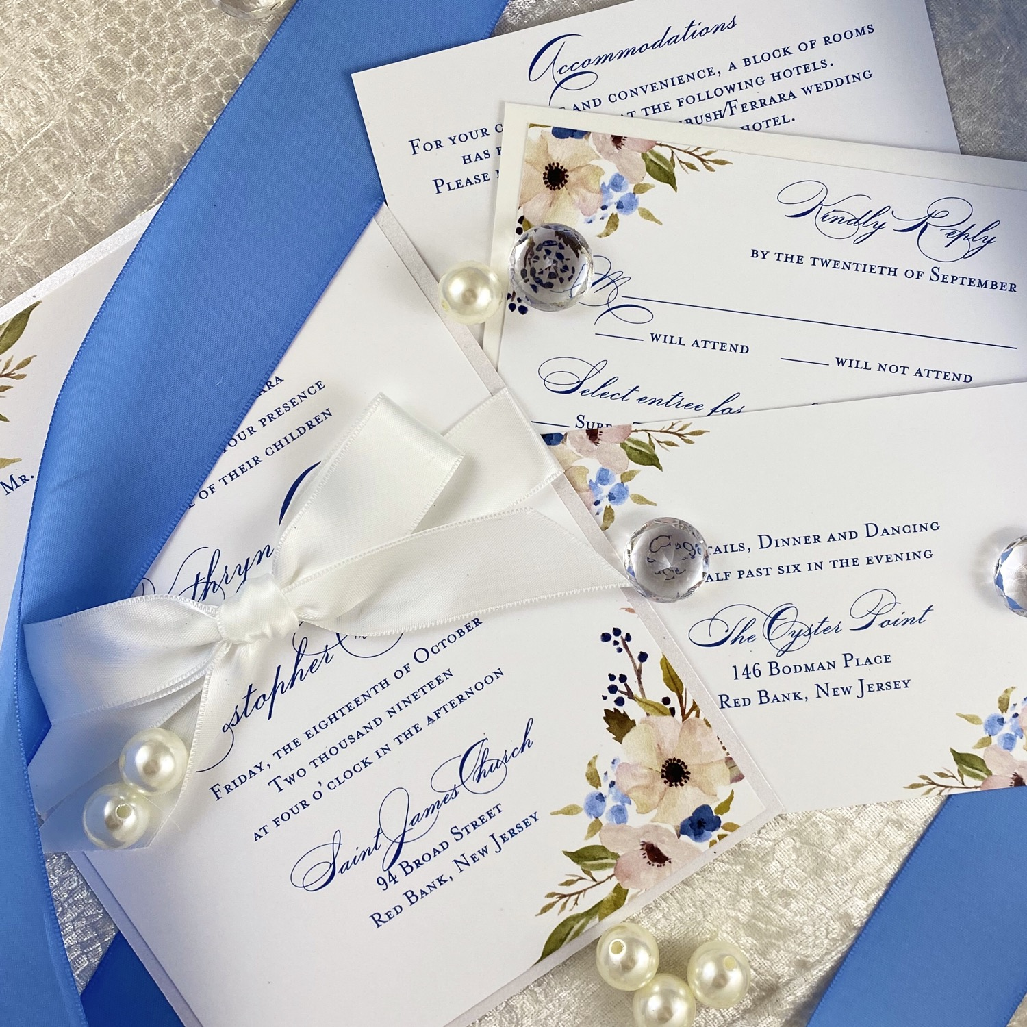 Watercolor Floral Classic with Ribbon