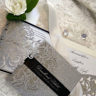 Silver Glitter Laser Cut Pocket