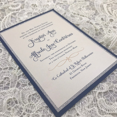 Classic Navy and Ivory with silver glitt