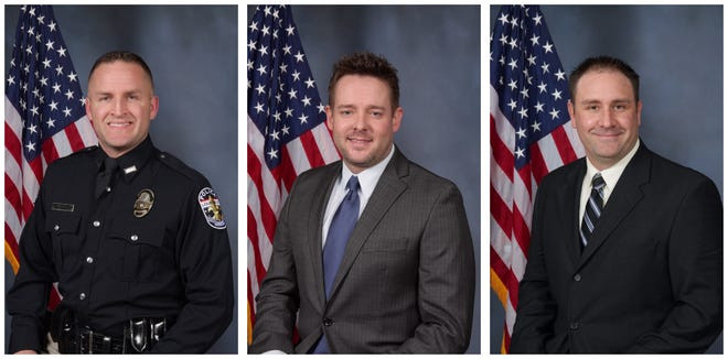 The LMPD officers who fired their guns in Taylor's apartment: Brett Hankison, Jonathan Mattingly, and Myles Cosgrove (Photo Credit: LMPD)