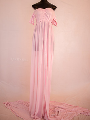 Ofelia. Light Pink. Open Front. Extra Long