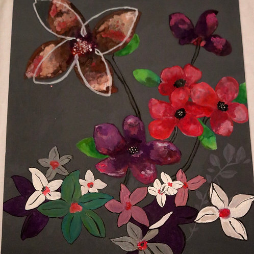 18*20 Mixed Media Modern Flower board canvas
