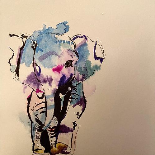 My Elephant Friend, Watercolor Art