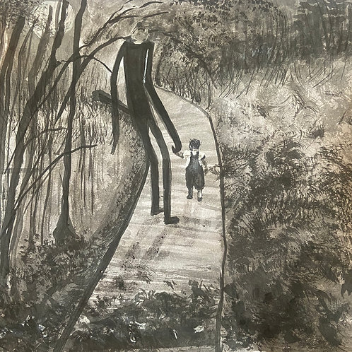 """Slender Man With Child """"Ominous"""" 8*8, Ink"""