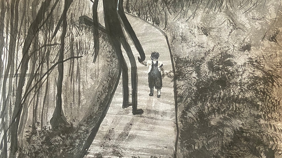 "Slender Man With Child ""Ominous"" 8*8, Ink"