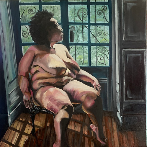 Original Oil Painting, fine art, Nude African Woman by Window 20*20