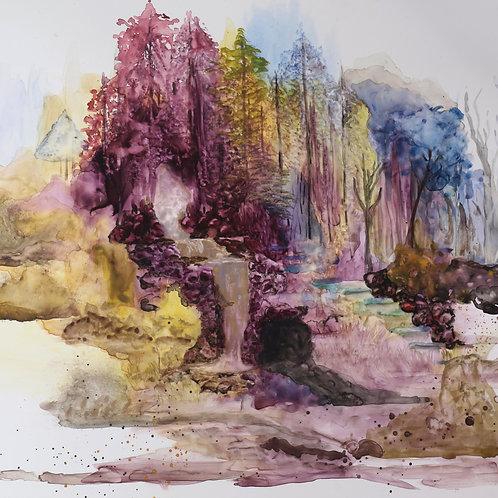 Golden Waterfall, Watercolor on Yupo 9*12