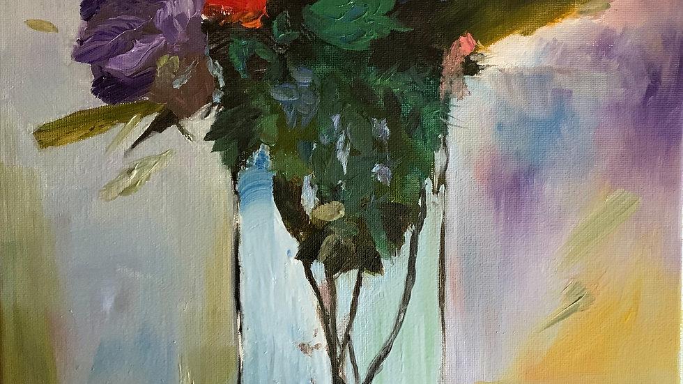**Sold Loose Oil Flowers in Vase 11*14