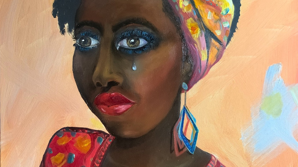BLM African American Woman Oil Painting SOLD