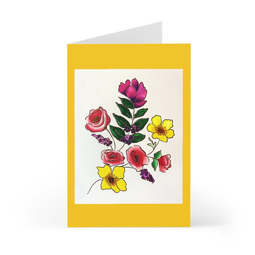 Yellow Floral, Greeting Cards (7 pcs)
