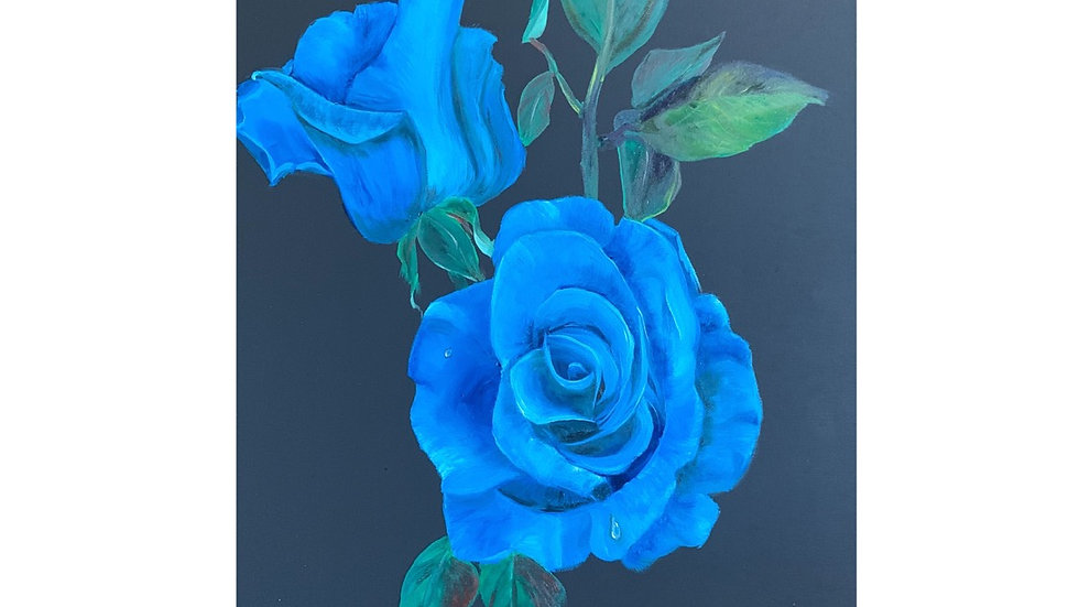 The Blues, Original Oil Painting, Blue Roses