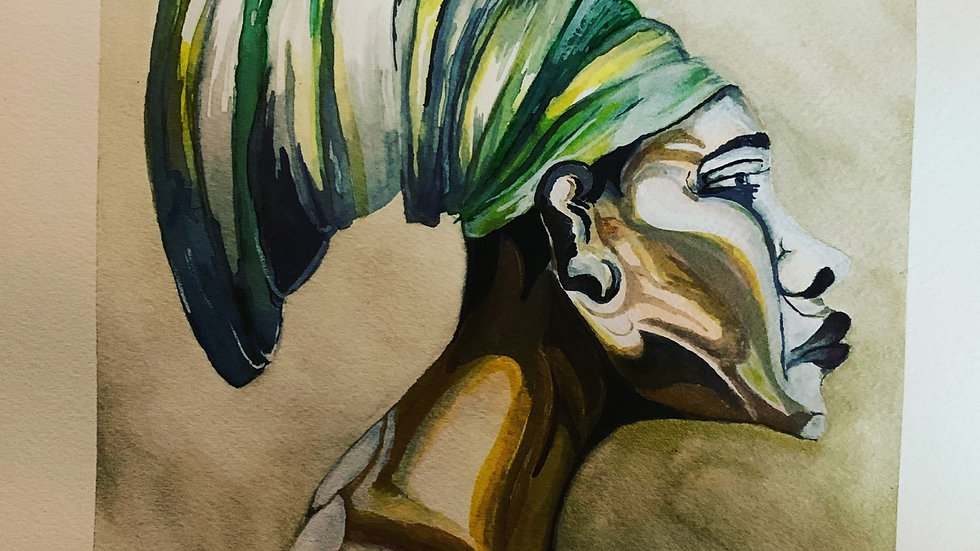 African American Woman Watercolor Painting 9*12