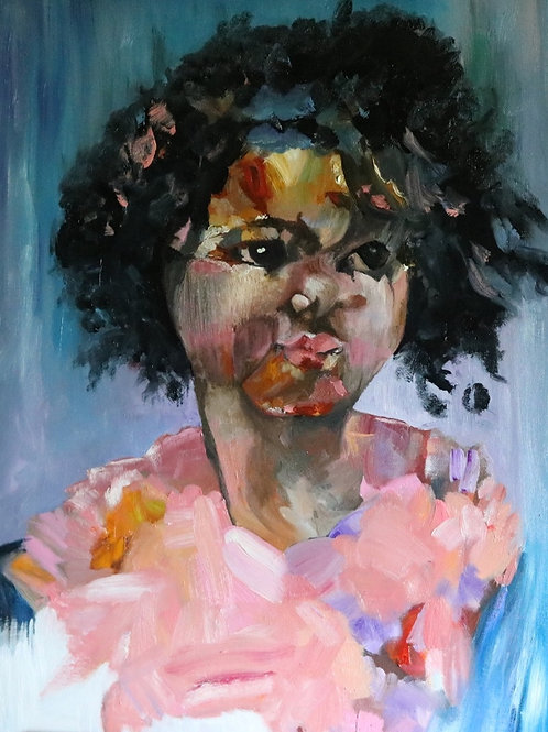 "BLM Young Girl Oil Painting ""Next"""