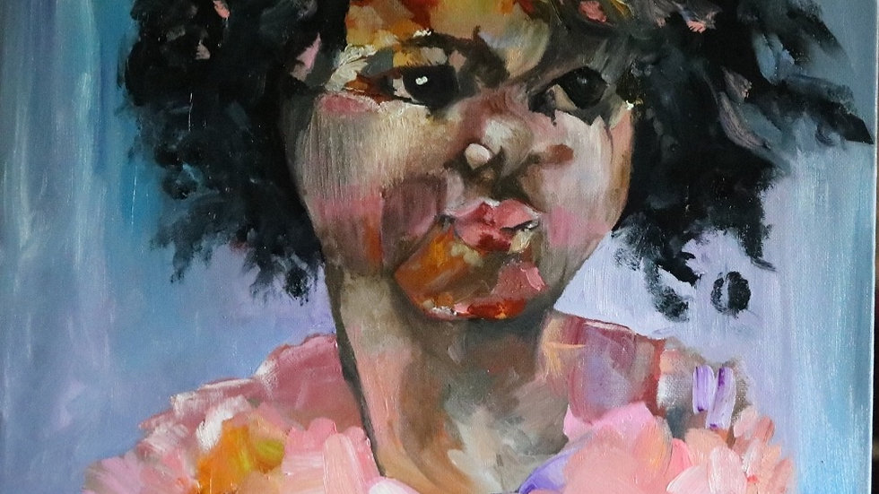 """BLM Young Girl Oil Painting """"Next"""""""