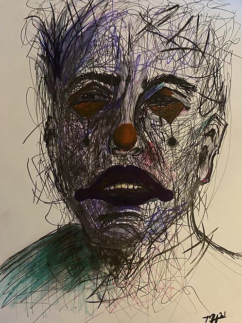 Parties Over, Clown,  Pen and Ink 9*12