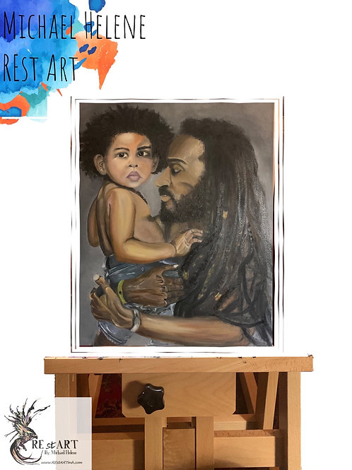 Like Father, Original Oil Painting of Father Holding Son in Arms