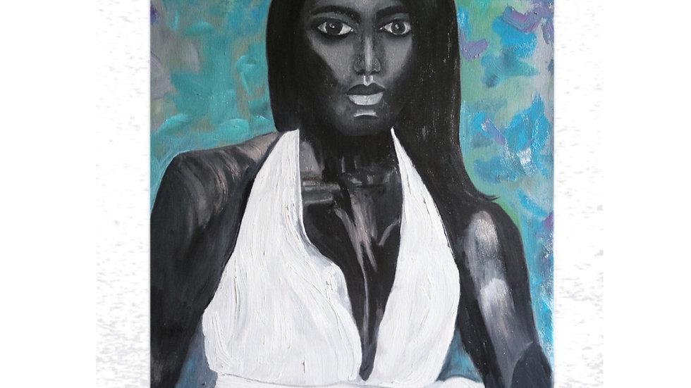 Original Oil Painting, 16*20, Fine Art, Modern African Woman