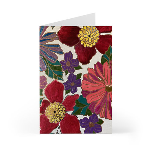 Floral Greeting Cards, Painted look (7 pcs)
