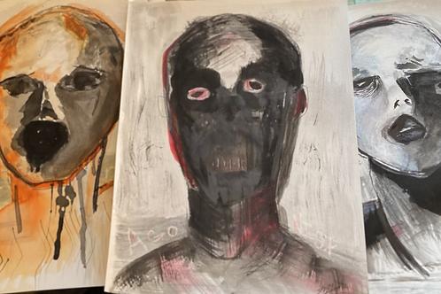 Raw Emotions, 3 piece set, Ink Portrait Art