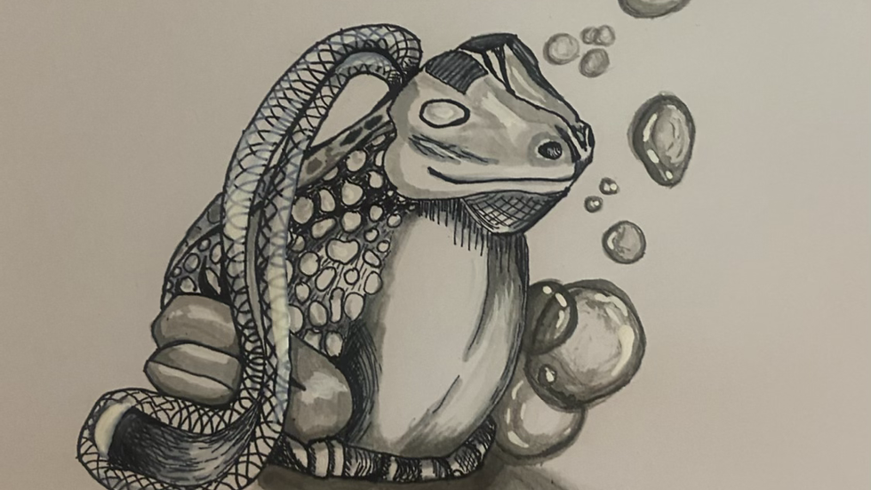 """""""Slippery"""" Frog Soap On a Rope, 8*8 Pen and Ink, Inktober 2020"""